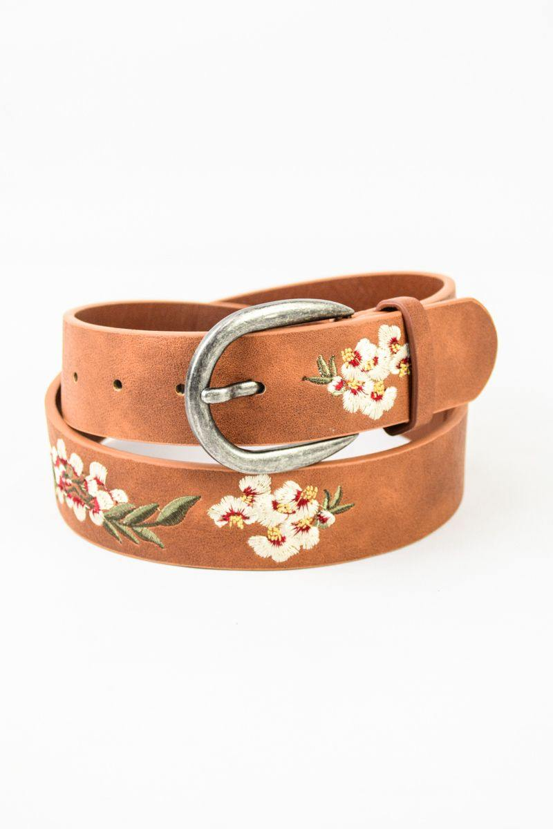 Brown Floral Embroidered Boho Belt