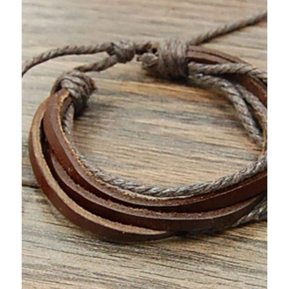 Brown Leather Bracelet, bracelet, Isac Trading, Bohemian Bangles