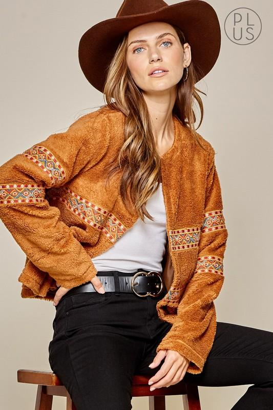 Southwest Embroidered Faux Fur Coat-Plus - Bohemian Bangles