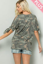 Camouflage Tie Sleeve With Knotted Front Top - Bohemian Bangles