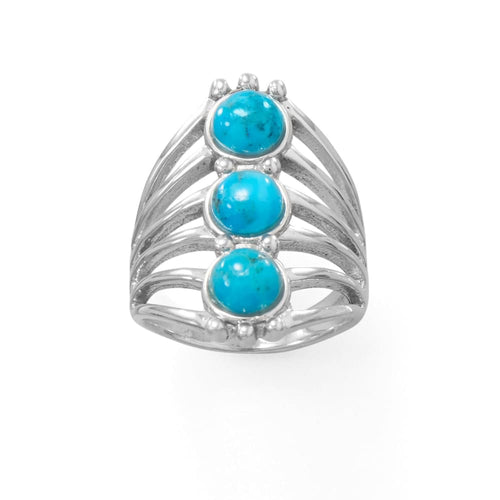 Enchanted-Three Stone Turquoise Ring, Ring, MMA, Bohemian Bangles