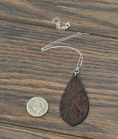 Fall-Leather Pendant Sterling Silver Necklace - Bohemian Bangles