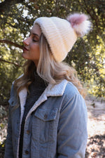 Ivory Faux Mohair Hat With Pom Pom - Bohemian Bangles