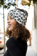 Faux Mohair Leopard Bow Headwrap-White