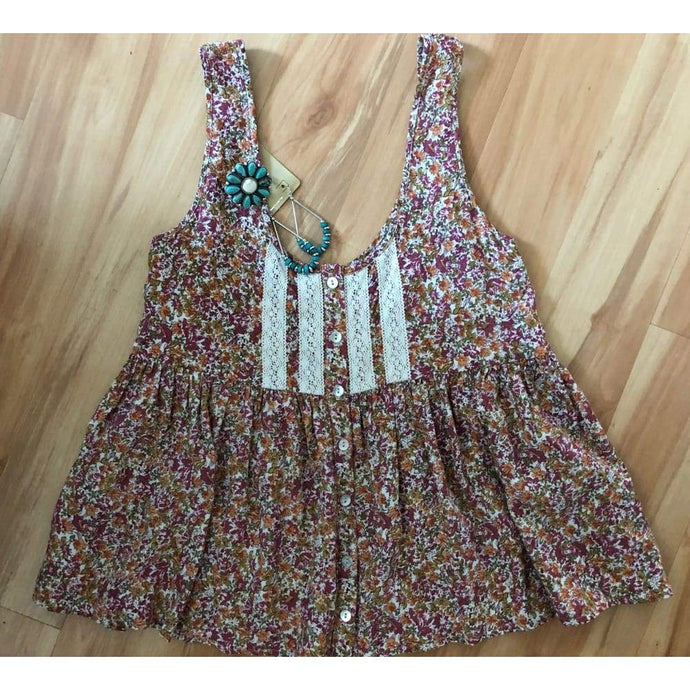 Floral Babydoll Tank-Juniors Small - Top - boho-bangles
