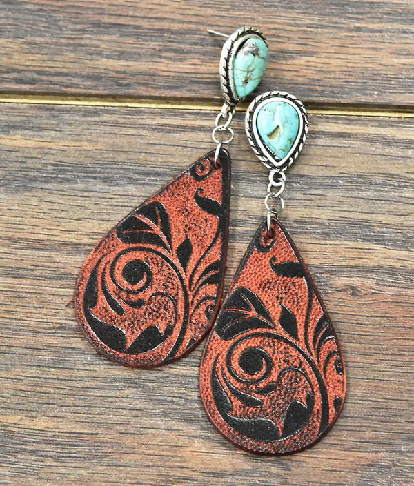 Floral Tooled Leather Swirl Turquoise Earrings - Bohemian Bangles