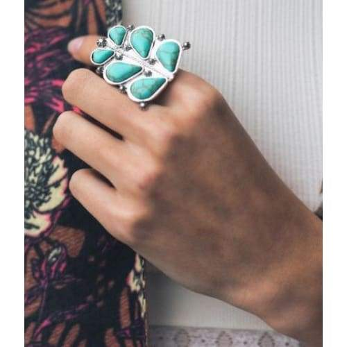 Flower Child Turquoise Ring, Ring, Leto, Bohemian Bangles