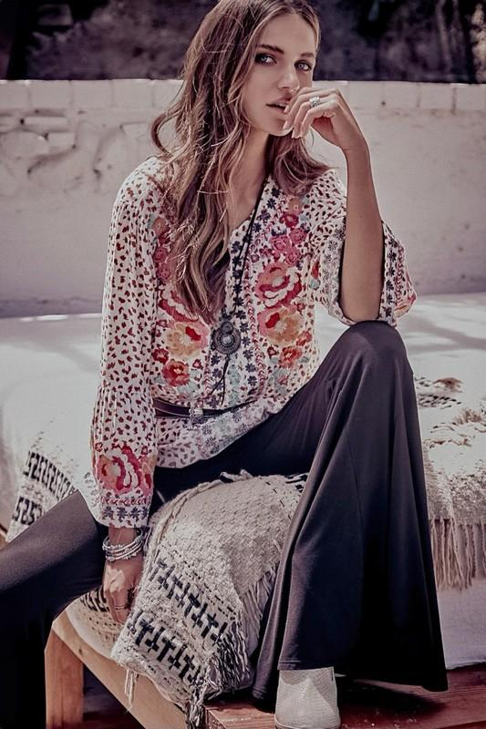 Floral Leopard Embroidered Blouse - Bohemian Bangles