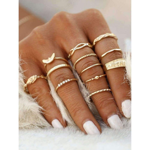 Gold Plated Embellished Ring Set - Ring - boho-bangles