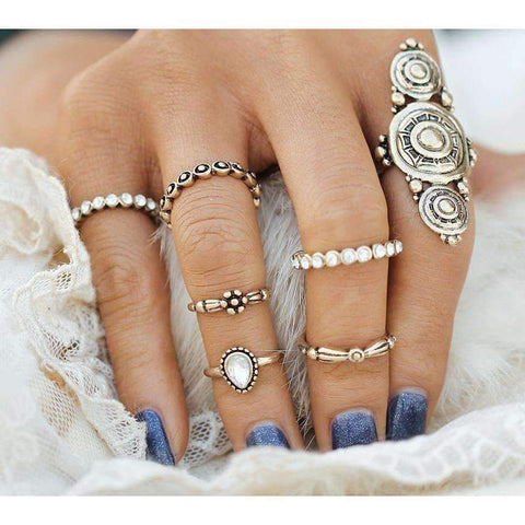 Golden Scrolls Knuckle/Midi Ring Set-Seven Rings - Ring - boho-bangles