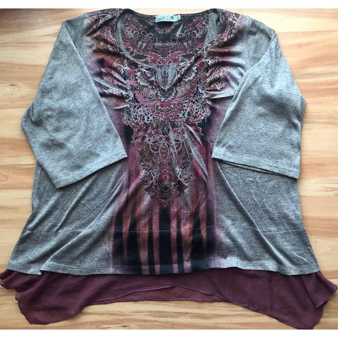 Gray Gently Used Plus Size 1X Boho Tunic - Top - boho-bangles