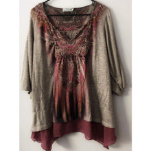 Gray Gently Used Plus Size 1X Boho Tunic, Top, Bohemian Bangles, Bohemian Bangles