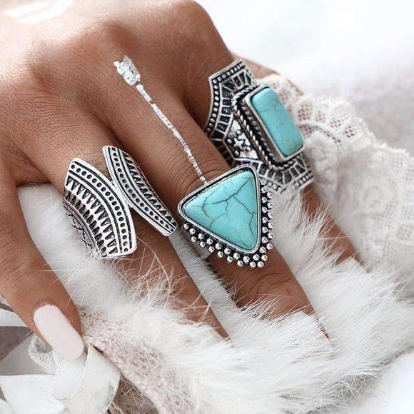 Gypsy Nights Three Ring Silver & Turquoise Stone Ring Set - Ring - boho-bangles
