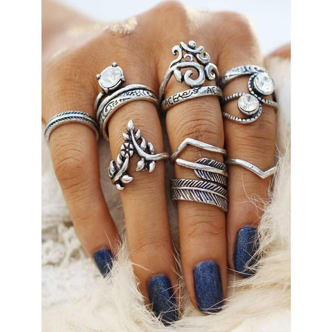 Heart & Leaf Design Boho Ring Set - Ring - boho-bangles