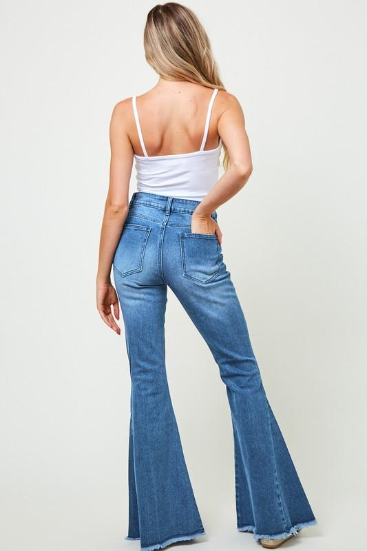 Indigo Night-Distressed Denim Flare Jeans