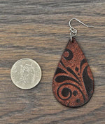 Iris-Dark Brown Tooled Leather Dangle Earrings - Bohemian Bangles