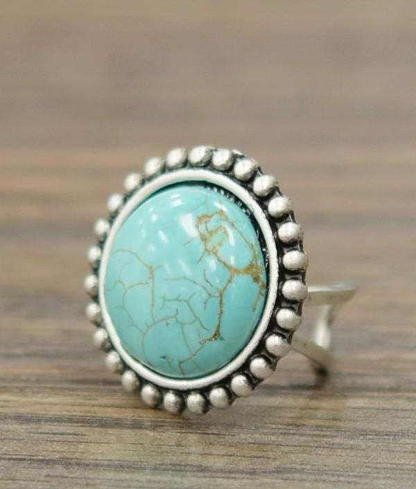Jazmine-Natural Round Turquoise Adjustable Ring - Bohemian Bangles