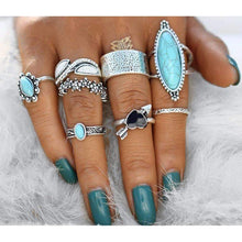 Love Struck Silver Turquoise Boho Ring Set-Sizes 3-8 - Ring - boho-bangles