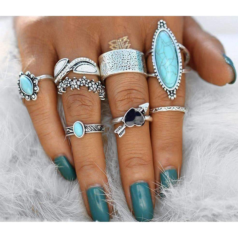 Love Struck Silver Turquoise Boho Ring Set-Sizes 3-8, Ring, Bohemian Bangles, Bohemian Bangles