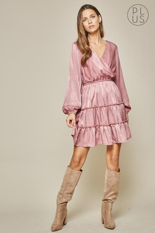 Mauve Boho Chic Satin Mini Dress - Bohemian Bangles