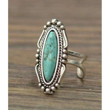 Natural Turquoise Adjustable Ring in Silver, Ring, Isac Trading, Bohemian Bangles