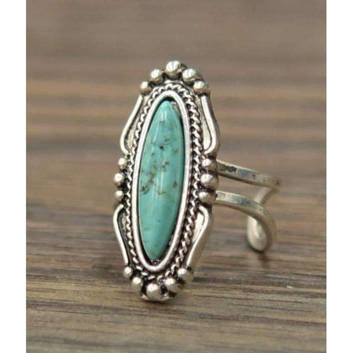 Natural Turquoise Adjustable Ring in Silver - Ring - boho-bangles