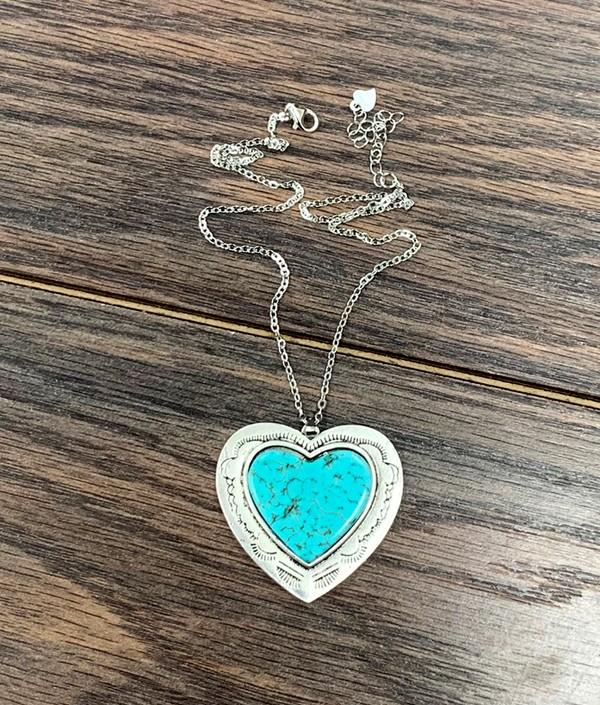 From the Heart-Turquoise Heart Sterling Silver Necklace - Bohemian Bangles
