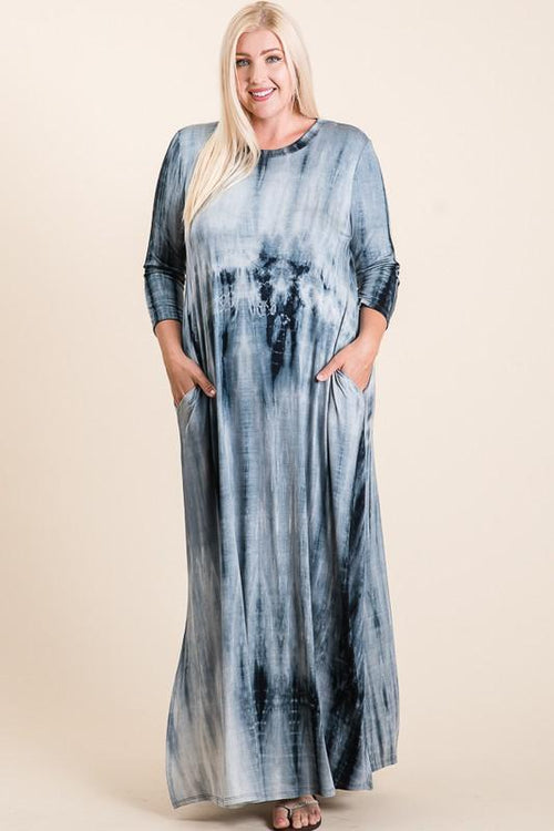 Navy Tie Dye Maxi Dress - Bohemian Bangles