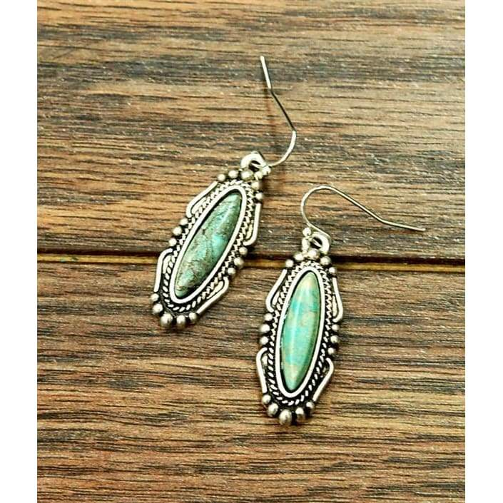 Oval Turquoise Earrings - Earrings - boho-bangles