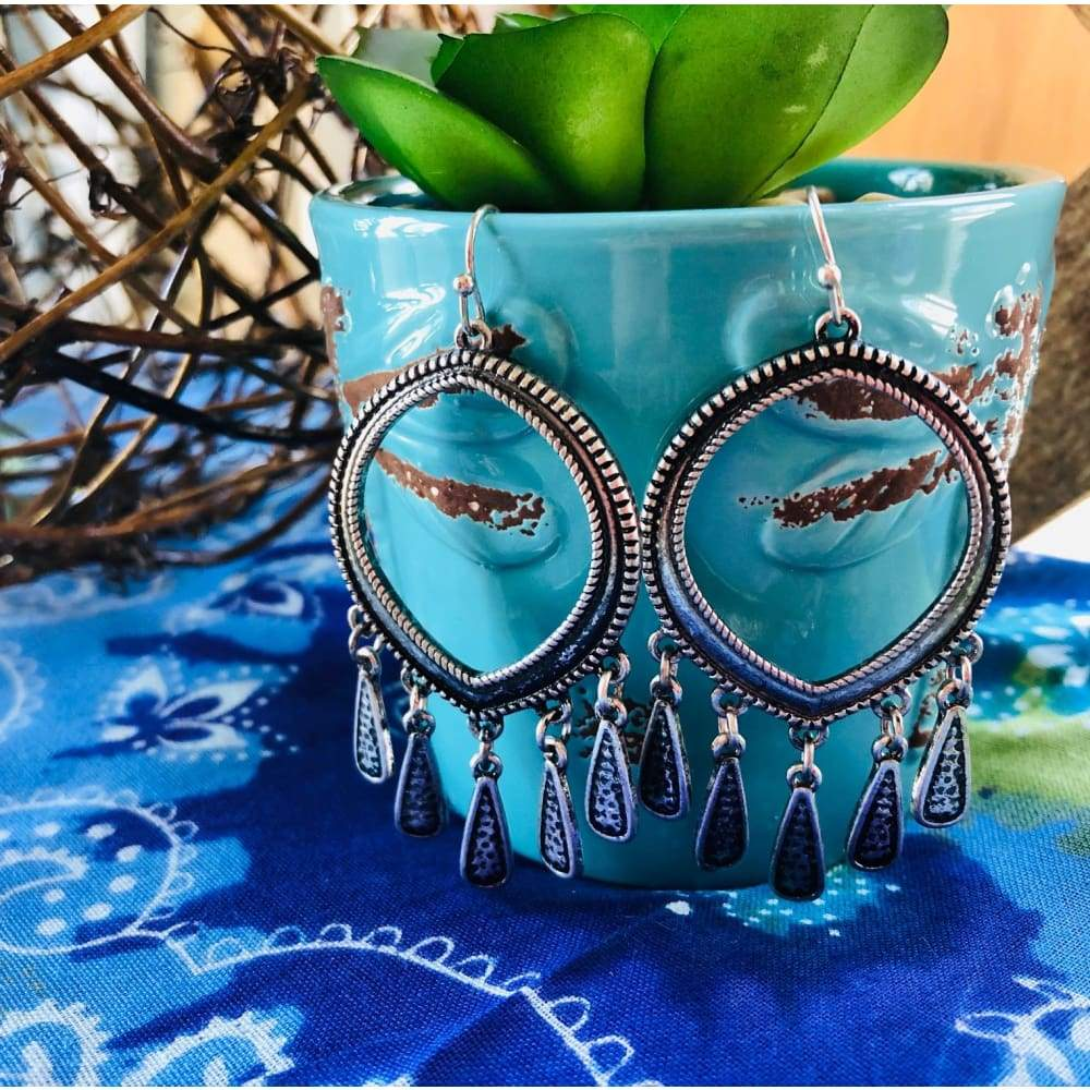 Ranchero-Teardrop Chandelier Earrings, Earrings, WAM, Bohemian Bangles