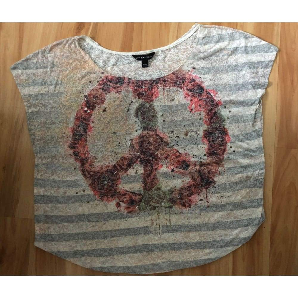 Rock & Republic Peace Tee-Size Large - Top - boho-bangles
