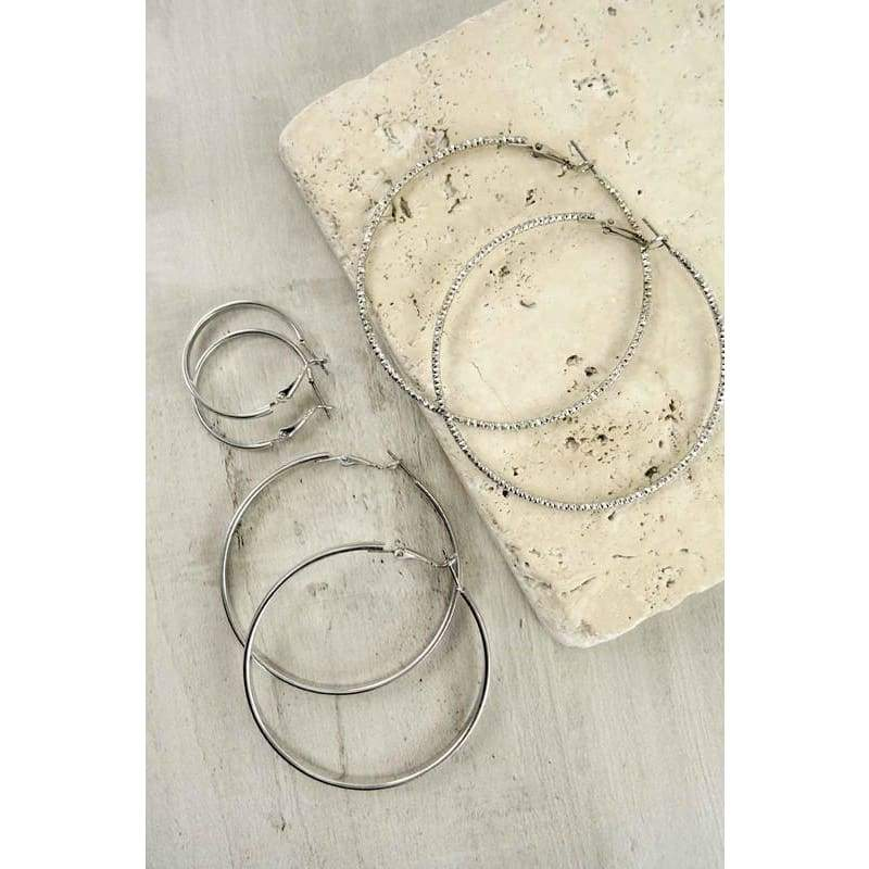 Silver or Gold Hoop Earring Set, Earrings, La3 Accessories, Bohemian Bangles