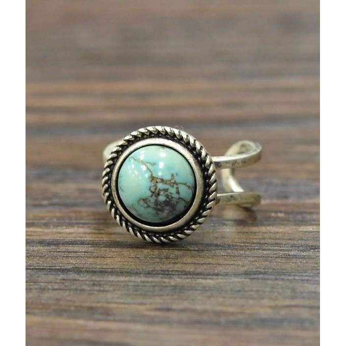 Small Round Turquoise Adjustable Ring - Ring - boho-bangles