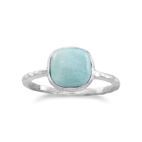 Stackable Turquoise Ring in Textured Sterling Silver - Ring - boho-bangles