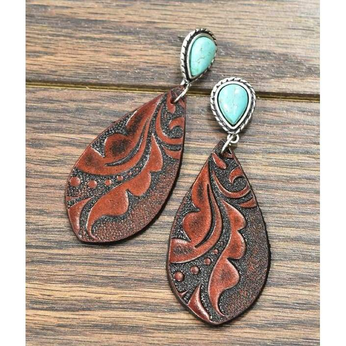 Swirl-Leather Tooled Turquoise Earrings, Earrings, Isac Trading, Bohemian Bangles