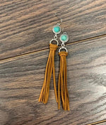 Rusty-Suede & Turquoise Tassel Earrings - Bohemian Bangles