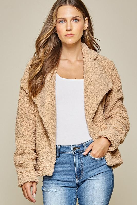 Taupe Open Sherpa Jacket - Bohemian Bangles