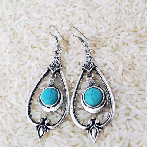 Tibetan Silver Drop Earrings,Earrings,boho-bangles