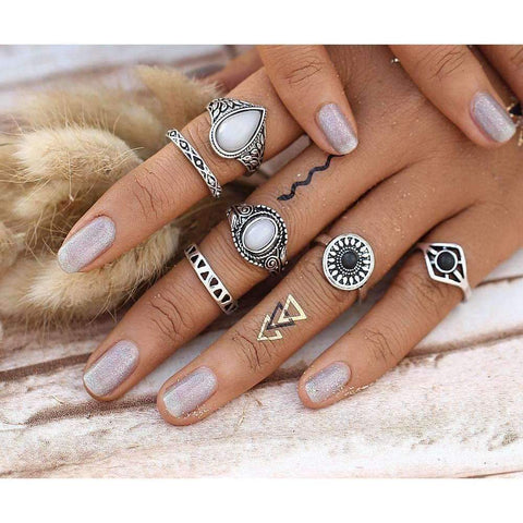 Water Drops Boho Ring Set-Six Rings - Ring - boho-bangles