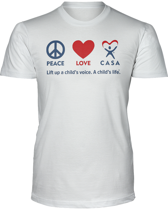 Peace Love CASA Unisex Short Sleeve Tees - White
