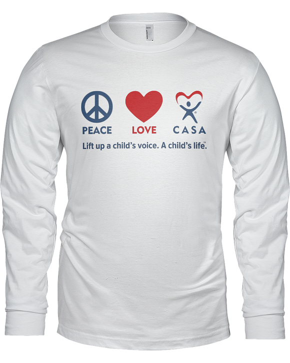 Peace Love CASA Unisex Long Sleeve Tees - White