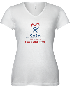 CASA I am a Volunteer Ladies V-Neck Short Sleeve T-shirt - WHITE