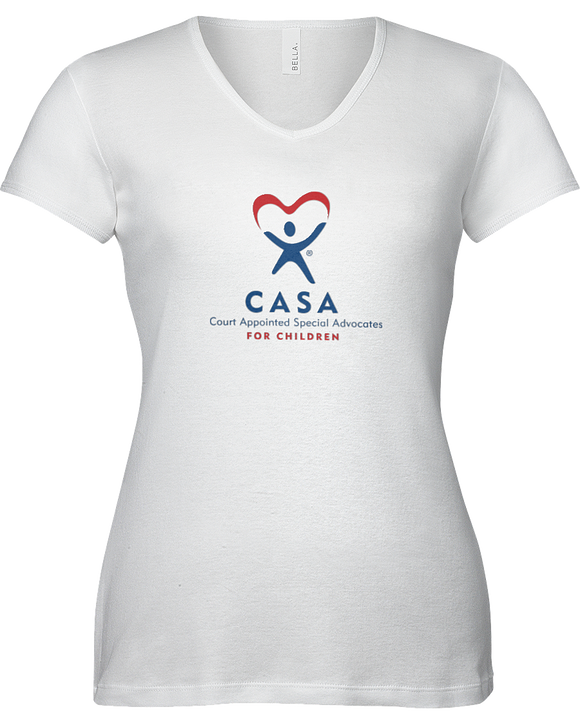 CASA Logo Ladies V-Neck Short Sleeve T-shirt - WHITE