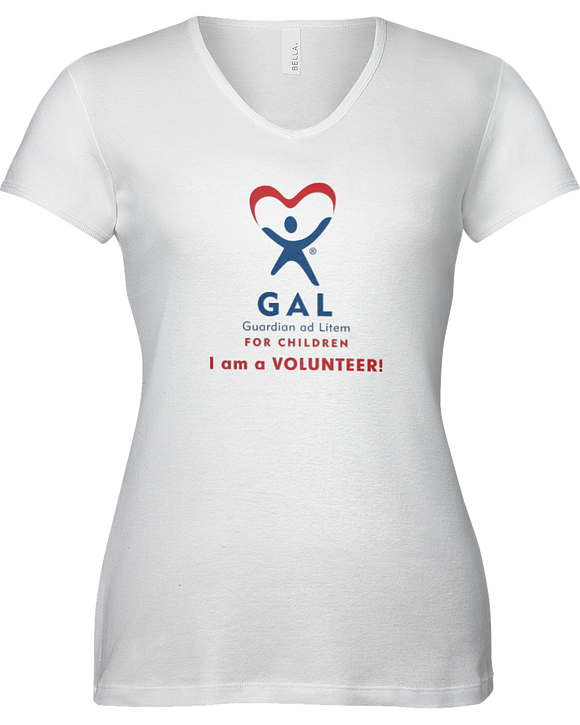 GAL I am a Volunteer Ladies V-Neck Short Sleeve T-shirt - WHITE