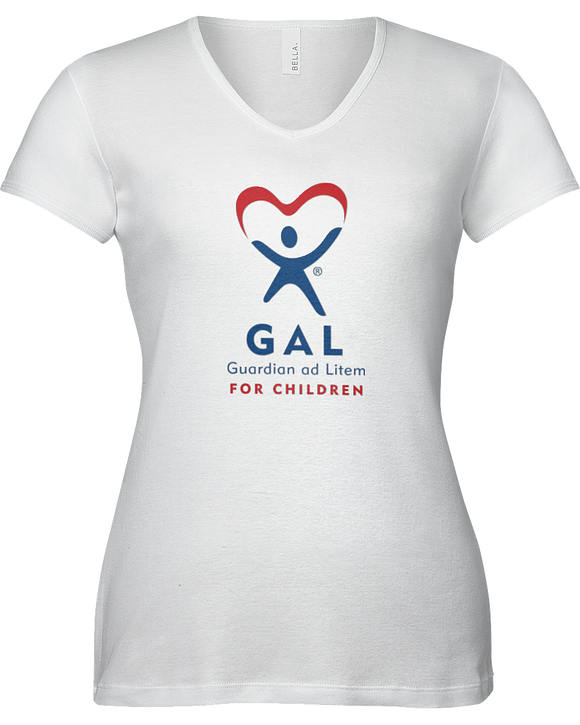 GAL Logo Ladies V-Neck Short Sleeve T-shirt - WHITE