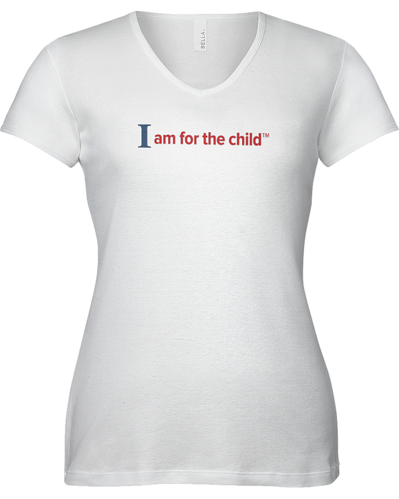 I am for the Child Ladies V-Neck Short Sleeve T-shirt - WHITE