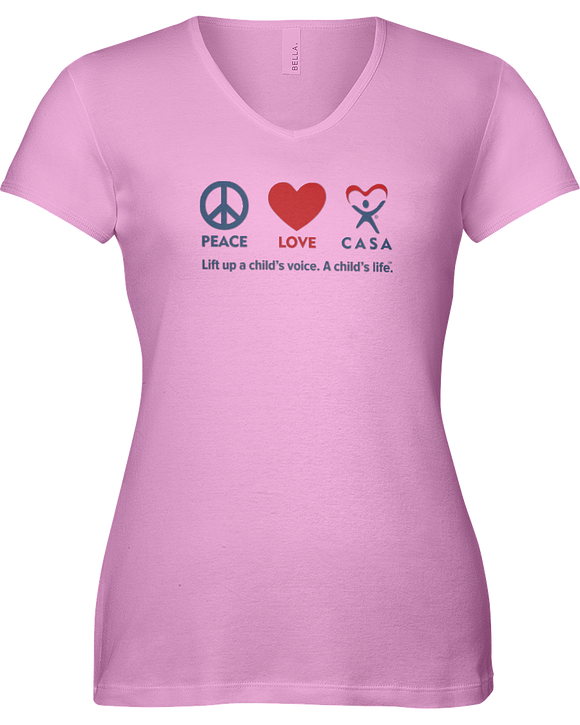 Peace Love CASA Ladies V-Neck Short Sleeve T-shirt - COLORS