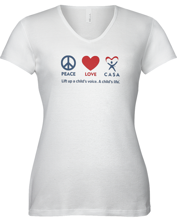 Peace Love CASA Ladies V-Neck Short Sleeve T-shirt - WHITE