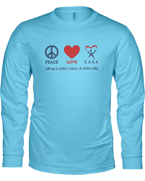 Peace Love CASA Ladies Long Sleeve T-shirt - COLORS