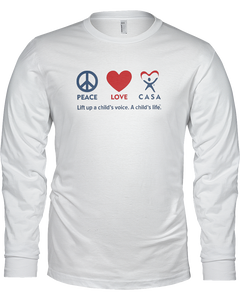 Peace Love CASA Ladies Long Sleeve T-shirt - WHITE